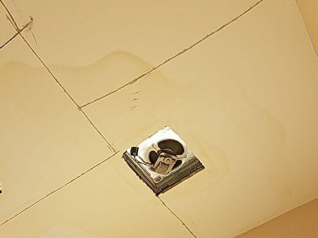 ice dam water leak in the ceiling of  chicago home