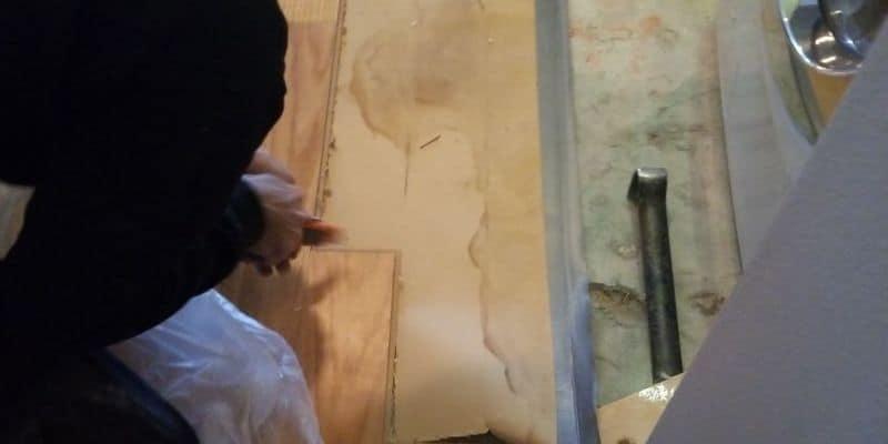 water damaged floor